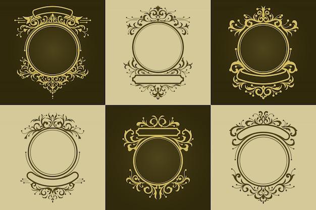 Set vintage cirkel ornament grens