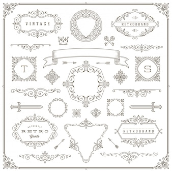 Set vintage elementen - bloeit en sierlijsten, rand, verdelers, banners en andere heraldische elementen voor logo, embleem, heraldiek, groet, uitnodiging, paginaontwerp.