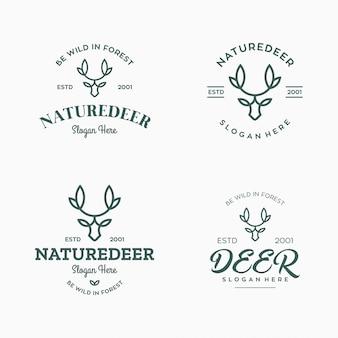 Set vintage etiketten, badges logo ontwerpelementen. hertenkop, artistieke emblemen. gestileerde collectie wild dier.