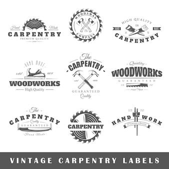 Set vintage etiketten timmerwerk
