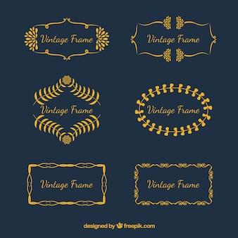 Set vintage frames in gouden stijl