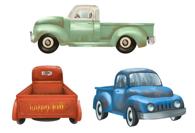 Set vintage geïsoleerde vrachtwagens handgeschilderde clipart