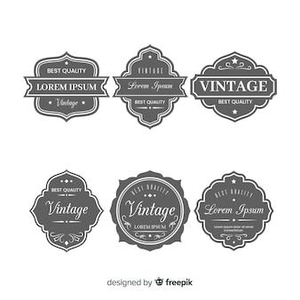 Set vintage grijze logo's