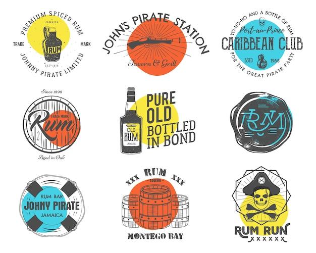 Set vintage handgemaakte emblemen, etiketten, logo's.
