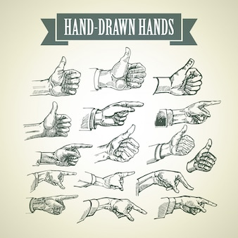 Set vintage handgeschilderde handen.