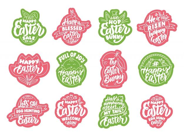 Set vintage happy easter stickers en labels