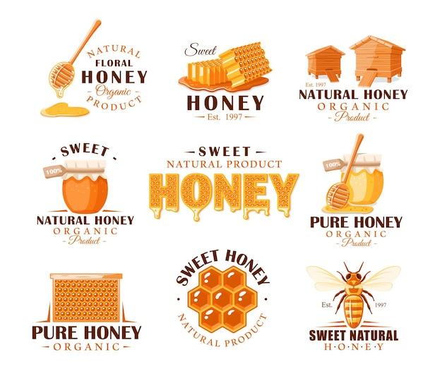 Set vintage honing etiketten. sjablonen voor het ontwerp van logo's en emblemen. verzameling van honingsymbolen: bij, bijenkorf, honingraat.