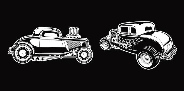 Set vintage hotrod in zwart-wit retro-stijl auto's premium vector