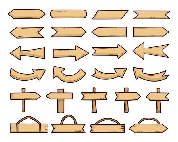Set vintage houten borden
