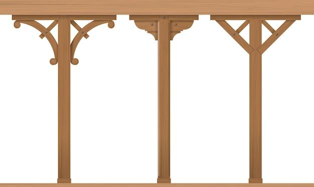 Set vintage houten kolommen