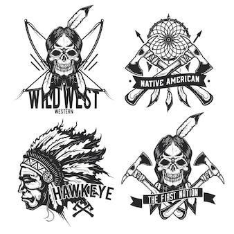 Set vintage indiaanse emblemen, etiketten, insignes, logo's. geïsoleerd op wit