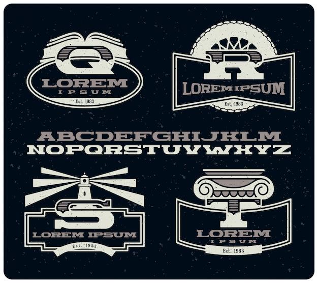 Set vintage insignes met lettertype
