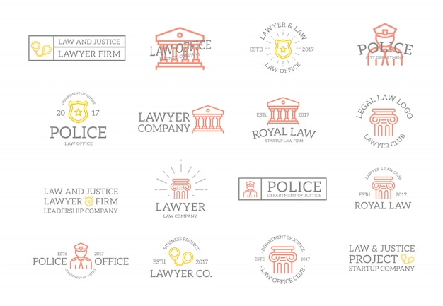 Set vintage justitie emblemen en labels