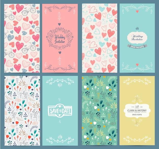 Set vintage kaartsjablonen. gebruik voor save the date, babydouche, moederdag, valentijnsdag, verjaardagskaarten, uitnodigingen. hand getrokken bloem, fietsen, hartenpatronen, kaders voor uw tekst