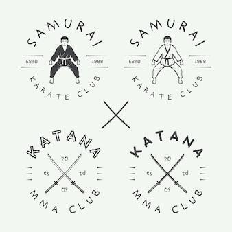 Set vintage karate of vechtsporten logo embleem badge