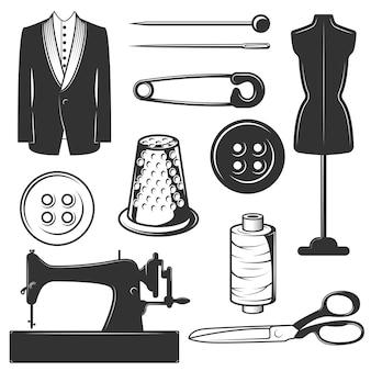 Set vintage kleermaker symbolen, pictogrammen geïsoleerd