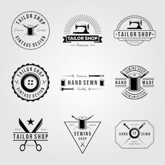 Set vintage kleermaker winkel genaaid logo handgemaakte illustratie