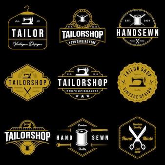Set vintage kleermaker winkel genaaid logo op donkere achtergrond handgemaakte illustratie
