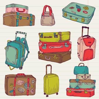 Set vintage kleurrijke koffers voor ontwerp en plakboek