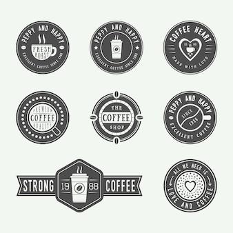 Set vintage koffie logo's, etiketten en emblemen. vectorillustratie