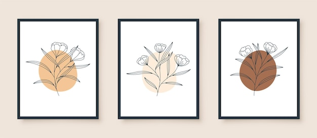 Set vintage lijntekeningen bloem in frame design