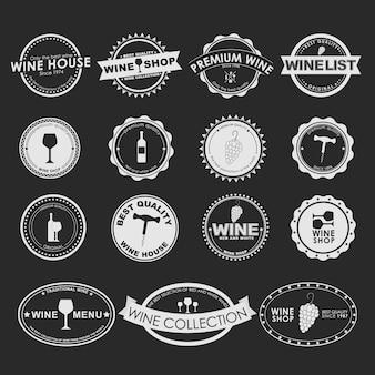 Set vintage logo op zwarte achtergrond voor wijnwinkels, cafés of restaurants. elementontwerp, logo's, stickers, pictogrammen, uithangborden.