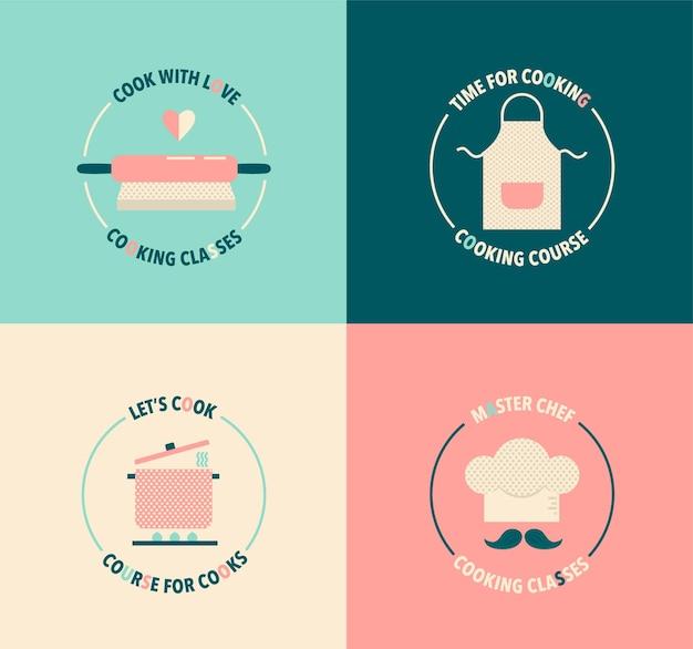 Set vintage logo voor kooklessen en cursussen illustratie