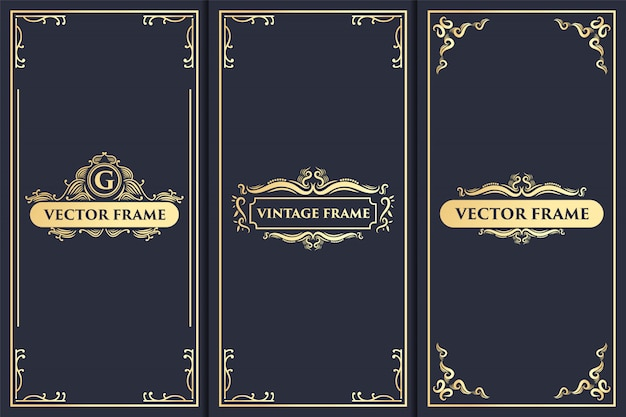 Set vintage luxe ornament logo en gouden verpakking ontwerp