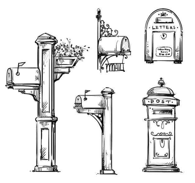 Set vintage mailboxen, post-mounted mailbox vector schets.