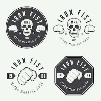 Set vintage mixed martial arts-logo