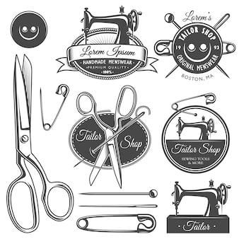 Set vintage monochroom kleermaker gereedschappen en emblemen.