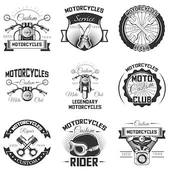 Set vintage motorfiets badges en logo's