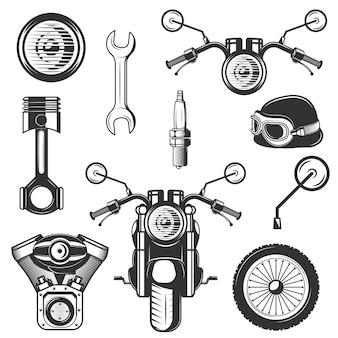 Set vintage motorfiets symbolen, pictogrammen geïsoleerd