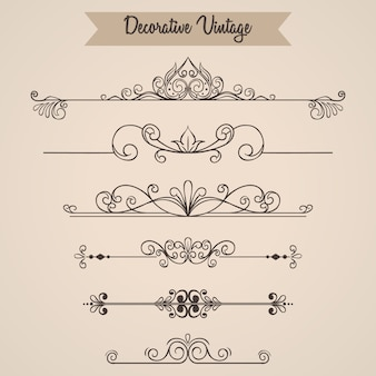 Set vintage ornamenten of vintage elementen