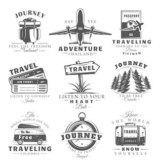 Set vintage reisetiketten geïsoleerd op een witte achtergrond