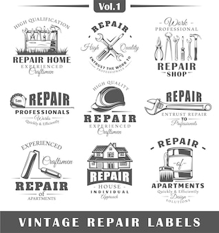 Set vintage reparatie logo's.