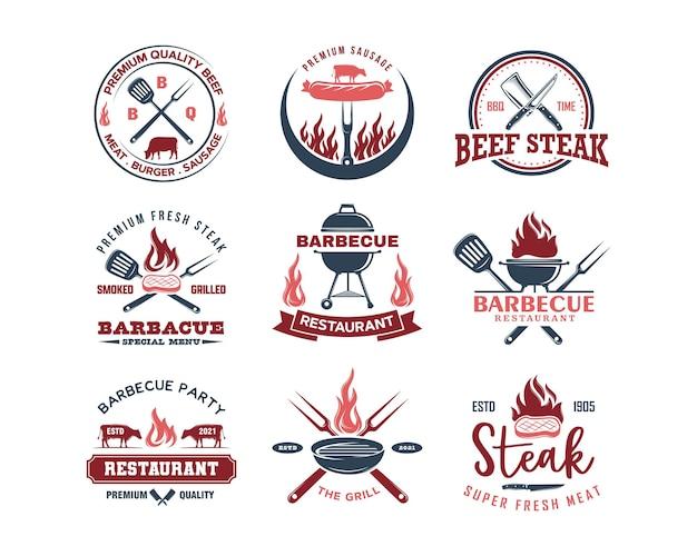 Set vintage retro bbq grill barbecue barbecue logo barbecue