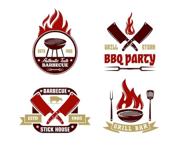 Set vintage retro bbq grill barbecue barbeque label