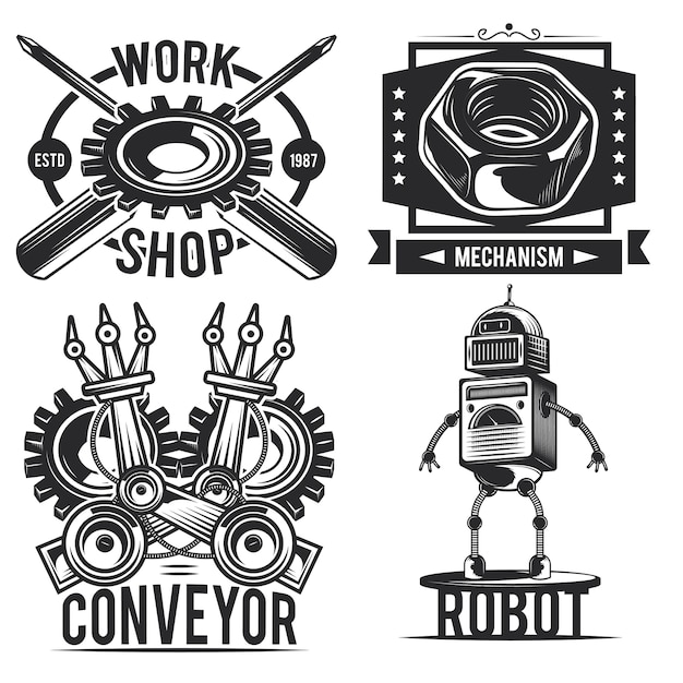 Set vintage robot emblemen