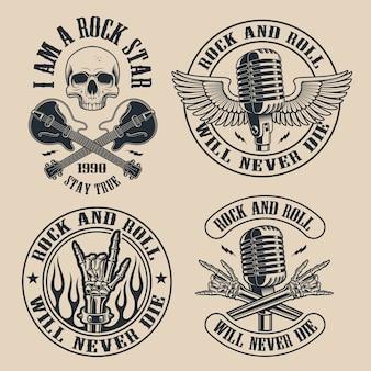 Set vintage rock and roll emblemen met shull op donkere achtergrond. perfect voor de hemden en vele andere. tekst staat op de aparte groep.