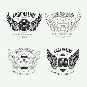 Set vintage rugby en american football labels, emblemen en logo. vector illustratie