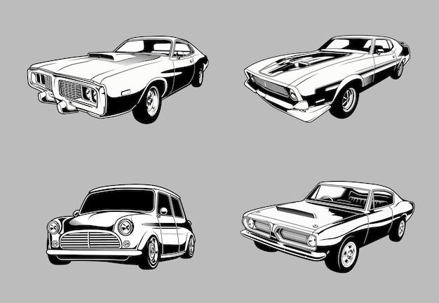 Set vintage spier- en klassieke auto's in zwart-wit retro-stijl auto's