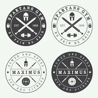 Set vintage sportschool logo's