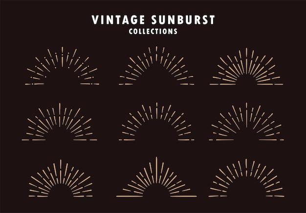 Set vintage sunburst in verschillende vormen