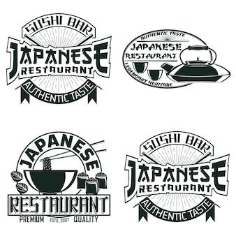 Set vintage sushi bar logo-ontwerpen