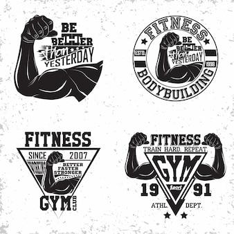 Set vintage t-shirt grafische ontwerpen, grange print stempels, fitness typografie emblemen, gym sport logo creatief ontwerp