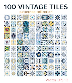 Set vintage tegels patronen antiek naadloos ontwerp