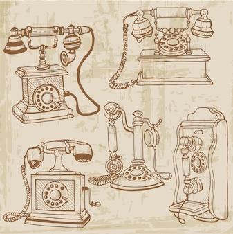 Set vintage telefoons hand getrokken