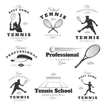 Set vintage tennis etiketten. posters, postzegels, banners en ontwerpelementen.