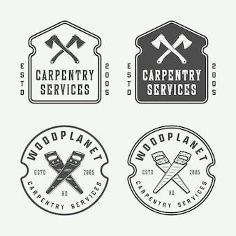 Set vintage timmerwerk houtwerk en monteur labels badge